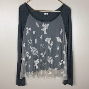 Anthropologie E by Eloise Woodland Creature Top
